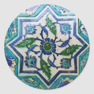 Vintage Antique Ottoman Tile Design Round Stickers