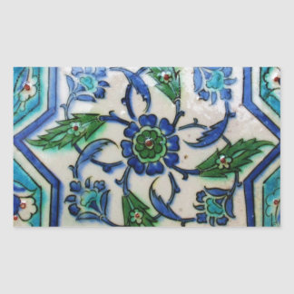 Vintage Antique Ottoman Tile Design Rectangular Stickers
