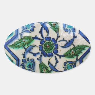 Vintage Antique Ottoman Tile Design Oval Stickers