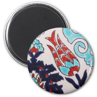 VINTAGE antique Ottoman Turkish tile TULIP 2 Inch Round Magnet