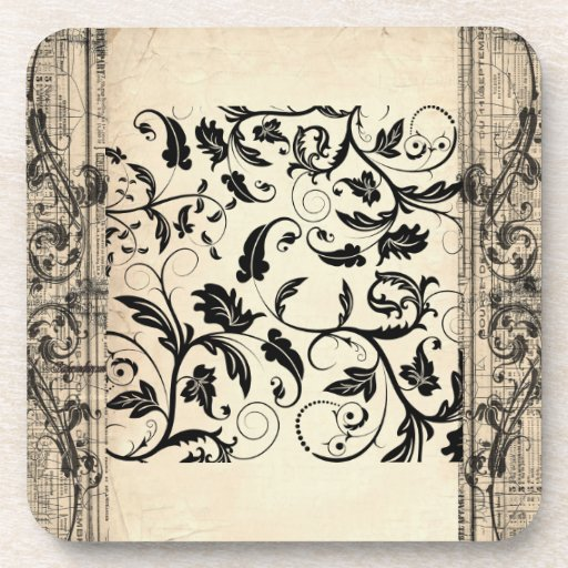 Antique Scroll Patterns: Vintage Antique Paper Scroll Pattern Six Coasters