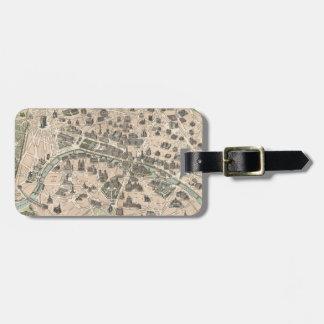 Vintage Antique Paris Street Map Bag Tag