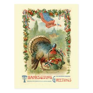 Vintage Antique Patriotic Thanksgiving Postcard at Zazzle