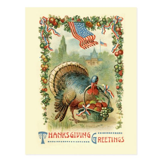 Vintage Antique Patriotic Thanksgiving Postcard