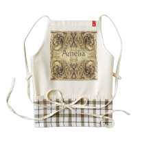 Vintage,antique ,pattern,grunge,worn,wood,wall zazzle HEART apron