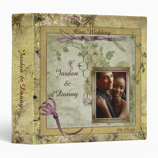 Vintage Antique Pink and Gold Wedding Album Binder