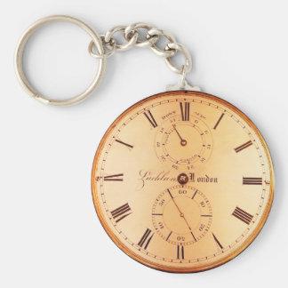Vintage Antique Pocket Watch Basic Round Button Keychain