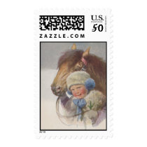 Vintage Antique Pony & Child Family Reunion Stamps