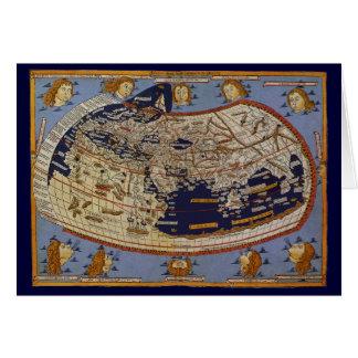Vintage Antique Ptolemaic World Map, 1482 Card