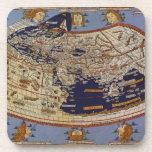 Vintage Antique Ptolemaic World Map, 1482 Coaster