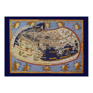 Vintage Antique Ptolemaic World Map, 1482 5x7 Paper Invitation Card