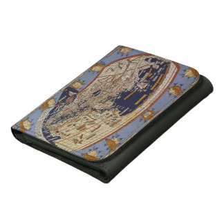 Vintage Antique Ptolemaic World Map, 1482 Leather Trifold Wallets