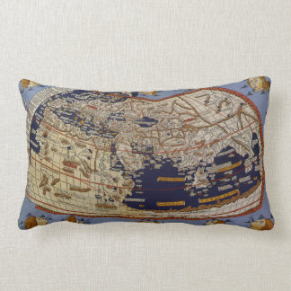 Vintage Antique Ptolemaic World Map, 1482 Lumbar Pillow
