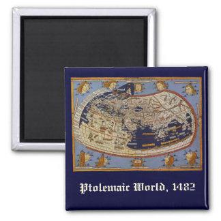 Vintage Antique Ptolemaic World Map, 1482 Magnet