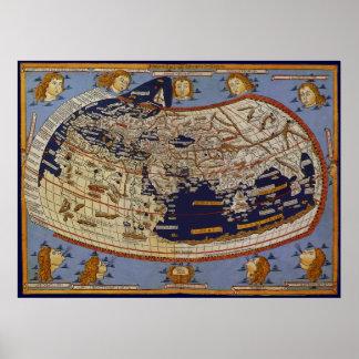 Vintage Antique Ptolemaic World Map, 1482 Poster