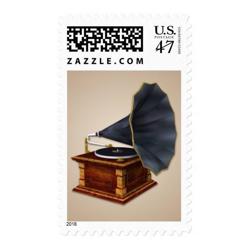 Vintage Antique Record Player Postage Stamp