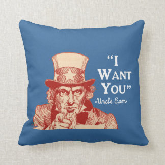 Vintage Antique Red Uncle Sam Independence July 4 Throw Pillow