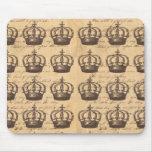 Vintage Antique Regal Crowns British Chic Pattern Mouse Pads