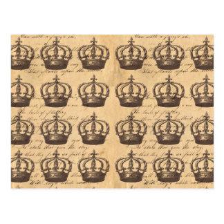 Vintage Antique Regal Crowns British Chic Pattern Postcard