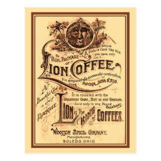 Vintage antique restored Lion Coffee advertising Postcard