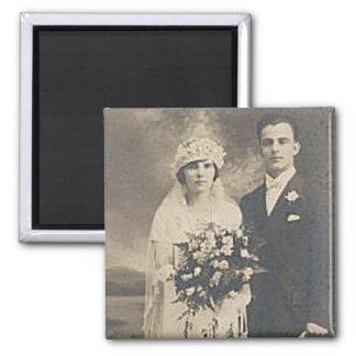 Vintage Antique Romantic Bride and Groom Photos Refrigerator Magnet