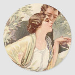 Vintage Antique Romantic Couples Cards and Gifts Round Stickers