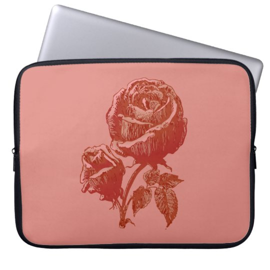 Vintage Antique Rose Drawing in Deep Red and Pink Laptop Sleeve