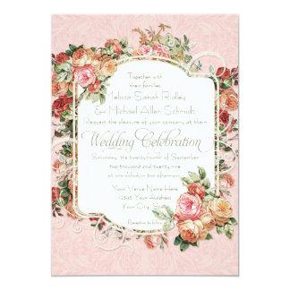 Vintage Antique Rose Floral Bouquet Formal Wedding Card