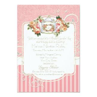 """Vintage Antique Rose Floral Bouquet Lingerie Tea 5"""" X 7"""" Invitation Card"""