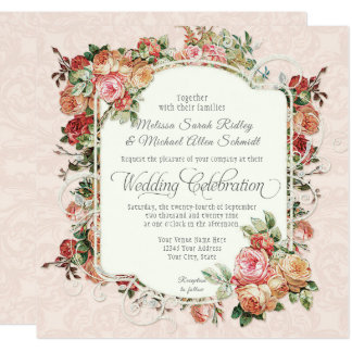 Vintage Antique Rose Floral Bouquet Square Wedding Card