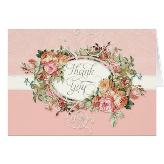 Vintage Antique Rose Floral Bouquet Thank You Note Stationery Note Card