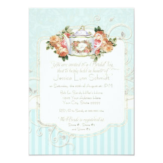 Vintage Antique Roses Floral Bouquet Modern Swirls 5x7 Paper Invitation Card