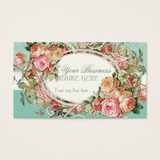 Vintage Antique Roses Floral Bouquet Modern Swirls Business Card