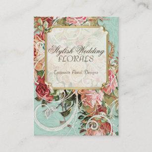 Vintage Antique Roses Floral Bouquet Modern Swirls Business Card