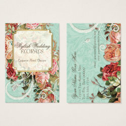 Vintage floral business cards retro invites vintage antique roses floral bouquet modern swirls business card reheart