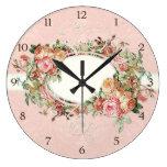 Vintage Antique Roses Floral Bouquet Modern Swirls Clocks