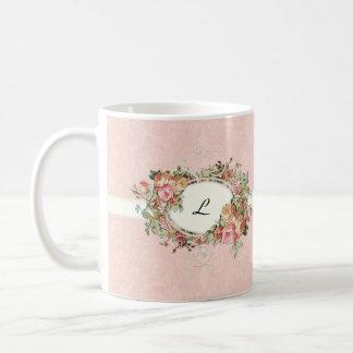 Vintage Antique Roses Floral Bouquet Modern Swirls Coffee Mug