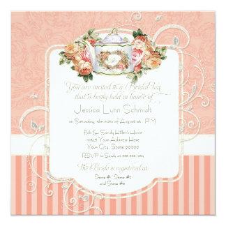 "Vintage Antique Roses Floral Bouquet Modern Swirls 5.25"" Square Invitation Card"