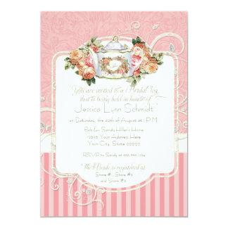 "Vintage Antique Roses Floral Bouquet Modern Swirls 5"" X 7"" Invitation Card"
