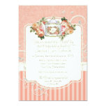 Vintage Antique Roses Floral Bouquet Modern Swirls 5x7 Paper Invitation Card