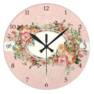 Vintage Antique Roses Floral Bouquet Modern Swirls Large Clock