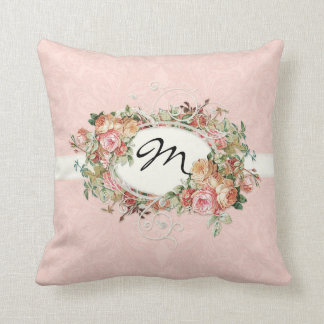 Vintage Antique Roses Floral Bouquet Modern Swirls Throw Pillow