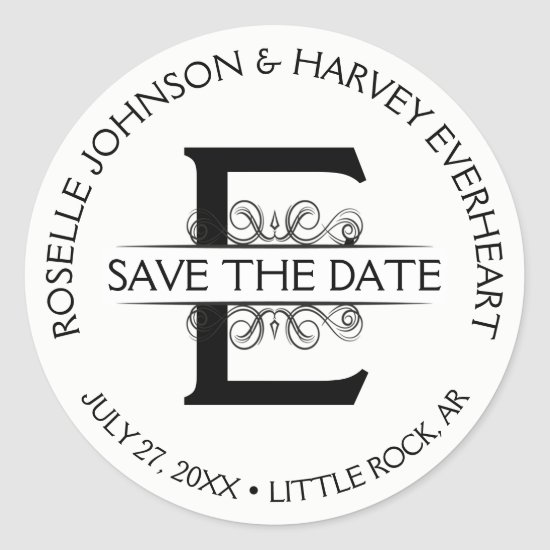 Vintage Antique Round Circular Save The Date Classic Round Sticker