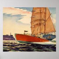 Vintage Antique Sailboat Motor Boat Ocean Wave Poster