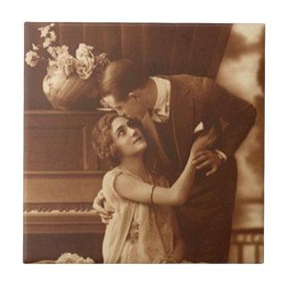 Vintage Antique Sepia Couple Love Romance Tile