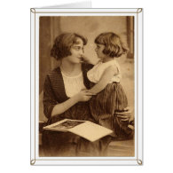 Vintage Antique Sepia Mother With Her Daughter Greeting Card