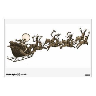 Vintage Antique Sepia Santa Sleigh Reindeers Wall Decals
