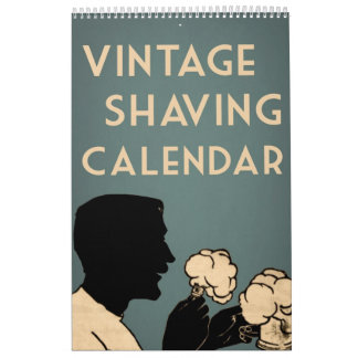 Vintage Antique Shaving Modern Men Ads Colorful Calendar