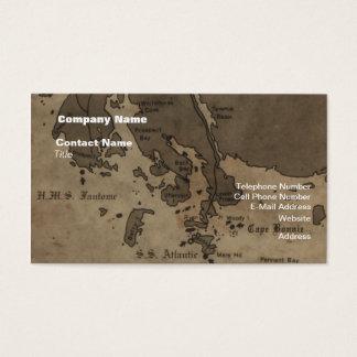 Vintage Antique Ship Wreck Map Business Card