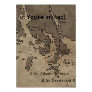 Vintage Antique Ship Wreck Map Card